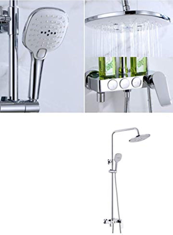 GWFVA Badezimmer Dusche Mixer Set, Dusche Set Handbrause einfache Dusche Multifunktionsdusche Kupferdusche Tastensteuerung DREI-Gang-Hebedusche