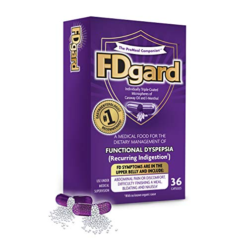 FDgard® for The Dietary Management of Meal-Triggered Indigestion (FD: Functional Dyspepsia) Symptoms† Including, Abdominal Discomfort, Difficulty Finishing a Meal, Bloating†*, Nausea, 36 Capsules