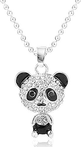FACAIBA Collar Mujer Hombre Bonito Esmalte Diamante de imitación Panda Colgante Collar Mujeres Accesorios de Cristal Suéter Collares Joyería Collar Llamativo para Mujeres Hombres Regalos