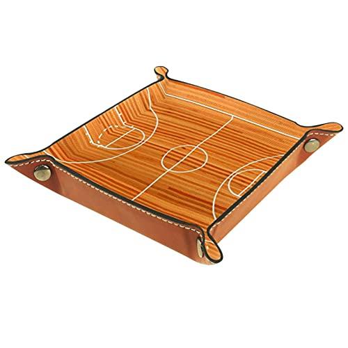 Organizador de canastas de cuero Tribunal de baloncesto del deporte de la línea del piso para la mesa de estar del escritorio del tocador