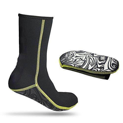 Tbest Calcetines de Agua,3 mm Calcetines de Buceo Antideslizantes Calcetines de Surf Térmicos Transpirables Calcetines de Natación Elásticos Deportes Acuáticos para Mujeres Hombres Adulto(M)