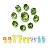 9 Pcs Vegetable Cutters Shapes Set,Flower Star Animals Shapes Mini Fruit Cutters Decorating Kits for Cookies Fondant Cake Decoration Kids Food Bento Box Baking Supplies +10 pcs Cute Picks and Forks