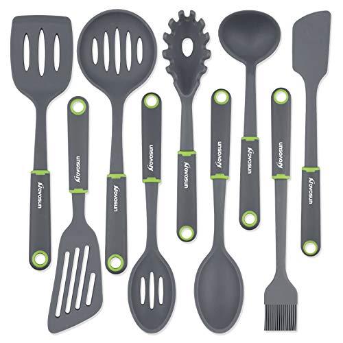 Novosun - Juego de utensilios de cocina de silicona con soporte, incluye espátula de bistec y cuchara para utensilios de cocina antiadherentes no tóxicos resistentes al calor (9 unidades)