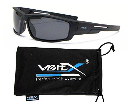 VertX Hombres Polarizan Gafas de Sol Deporte Ciclismo al Aire Libre – Marco Negro – Lente Humo