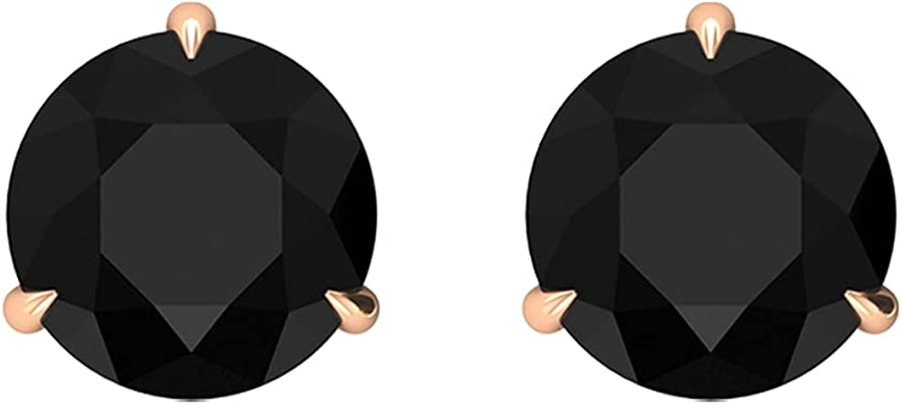 2.50 CT Created Black Diamond Solitaire Stud Earrings in Claw Setting (6 MM Round Cut Created Black Diamond),14K White Gold,Lab Created Black Diamond