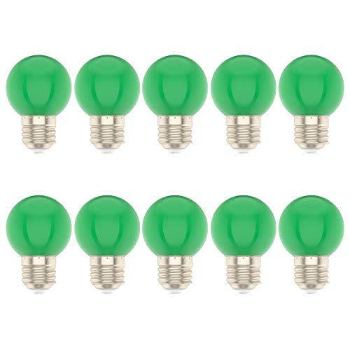 10 Stück 1 Watt LED Farbige Glühbirne E27 Fassung Glühlampe für Hochzeit Halloween Weihnachten Party Bar Grün