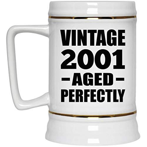 20th Birthday Vintage 2001 Aged Perfectly - Beer Stein Jarra de Cerveza, de Cerámica - Regalo para Cumpleaños, Aniversario, Día de Navidad o Día de Acción de Gracias