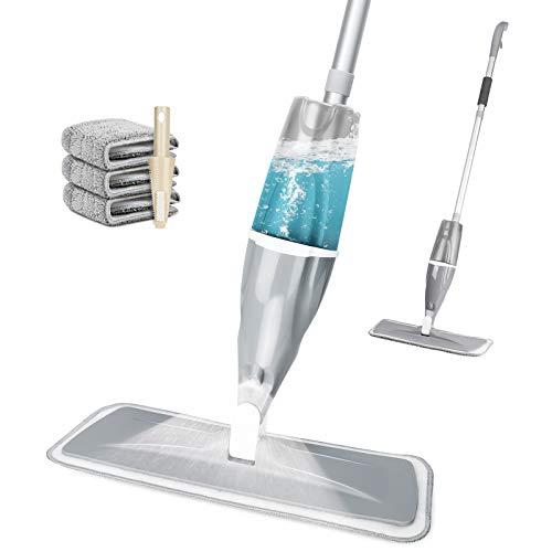 Aiglam Spray Mop, Mopa con pulverizador Limpiador de Ventanas y Escoba Barredora de Empuje Manual con Almohadilla de Microfibra Reutilizable para Suelos laminados, alicatados y de madera, Gris