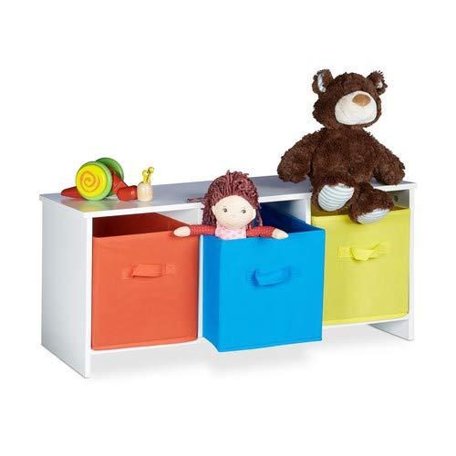 Relaxdays Kindersitzbank mit Stauraum ALBUS, bunte Stoffkörbe, Spielzeugtruhe zum Sitzen, Faltbare Stoffboxen, Spielzeugaufbewahrung, HxBxT: ca. 35,5 x 81 x 29 cm, weiß