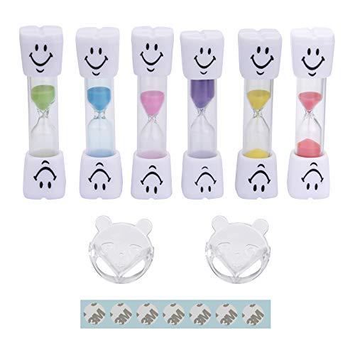 N / A 6 temporizadores de arena sonriente para niños, temporizador de reloj de arena para niños cepillado de dientes, 2 minutos, 3 minutos, enviar 2 protectores de esquina de seguridad