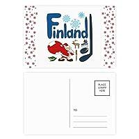 フィンランドの国家の象徴のランドマークのパターン クリスマスの花葉書を20枚祝福する
