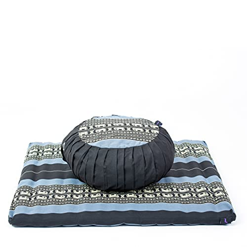 Leewadee Set de méditation avec Housses - Set de méditation en kapok, Coussin et Tapis de méditation à Housses lavables, Ensemble de 4 pièces, Bleu