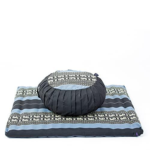 Leewadee Set da Meditazione con Fodera: Cuscino Zafu e Tappetino Zabuton per Yoga e Meditazione, materassino Tailandese in kapok Naturale, Blu
