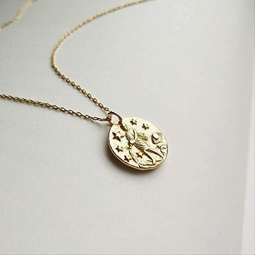CAISHENY 925 Ster Silber Constellation Halskette Gold Runde Barock Constellation Mädchen Figur Anhänger Halskette für Frauen Charm Schmuck