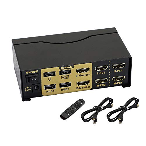 CERRXIAN HDMI Dual Monitor KVM Switch,4K@30Hz KVM Extended Display...
