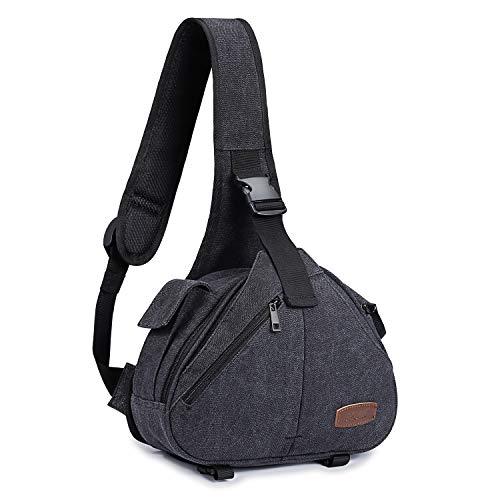 S-ZONE Canvas Camera Sling Bag DSLR Lens Anti-Theft Backpack Shoulder Crossbody Case with Tripod Holder