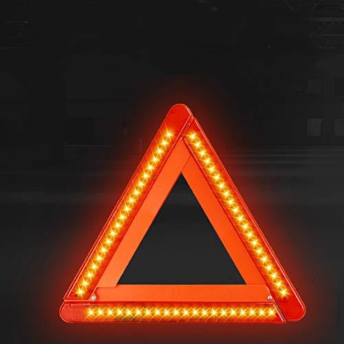 BESTT Warndreieck mit LED Warnleuchte Rotfür KFZ Auto Motorrad, Kunststoffköcher zur Aufbewahrung