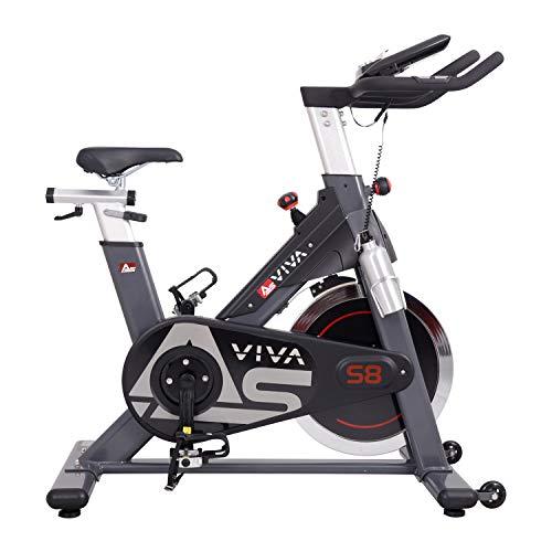 AsVIVA Indoor Cycle S8 Pro, Speed-Bike mit Bluetooth App Kontrolle, Fitnessbike, Heimtrainer (inkl. Klickpedale), Riemenantrieb