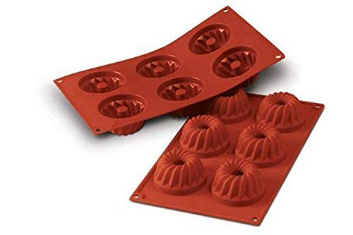 Silikomart 20.058.00.0060 SF058 Moule Forme Kouglof 6 Cavités Silicone Terre Cuite