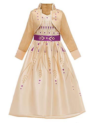 EMIN Mädchen Prinzessin Königin Eiskönigin ELSA Anna 2 Kostüm Kinder Langarm Glänzend Kleid Geburtstag Party Ankleiden Karneval Faschingskostüm Halloween Verkleidung Cosplay Fasching Winter Kleidung
