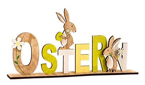 LB H&F Schriftzug Ostern Osterhase Holz mit Hase grün gelb Natur