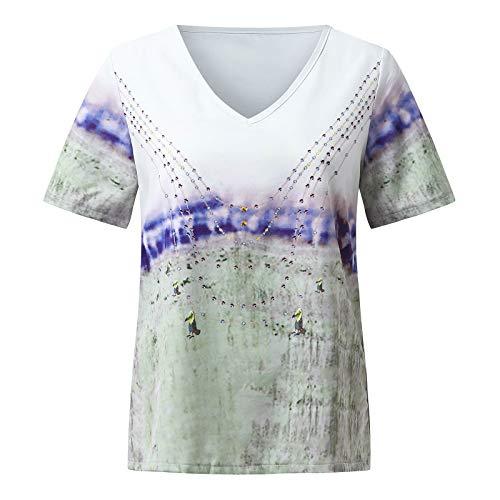 Lalaluka Camiseta de mujer blusa vintage con estampado de paisaje, escote en V, blusa de verano para mujer, camiseta de manga corta Blanco S
