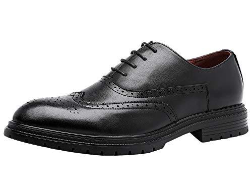 Zapatos Cordones Oxford Hombre Brogue Cuero Boda Negocios Vestir Derby Negro 44...