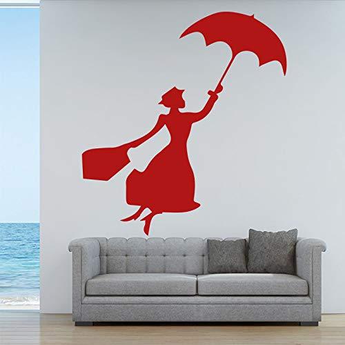 Etiqueta de la pared Paraguas Hermosa Mujer Tatuajes de pared Sala de estar Arte Decoración para el hogar Chica Mujeres Habitaciones Calcomanía Mural Amarillo L 43cm X 49cm