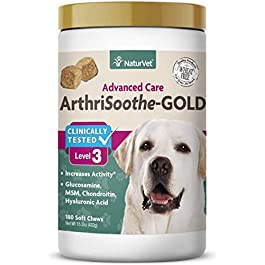 NaturVet ArthriSoothe-GOLD Level 3, MSM and Glucosamine for Dogs and Cats, Advanced Joint Care Support Supplement with Chondroitin and Omega 3, Clinically Tested, Soft Chews, Made in the USA