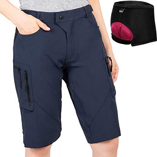 Cycorld MTB Shorts Damen Radhose, MTB Hose mit Innenhose und hochwertigem Sitzpolster, Schnelltrocknend Fahrradhose Damen Mountainbike Shorts Outdoor Shorts (Navy mit Unterwäsche, XL)