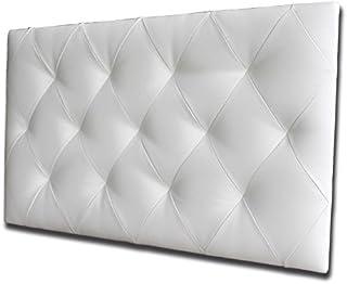 Ventadecolchones - Cabecero Tapizado Acolchado de Dormitorio Modelo Diamond el Polipiel Blanco y Medidas 151 x 70 cm para Camas de 135 ó 150