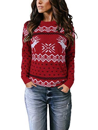 YOINS - Maglione da donna oversize, elegante,con scollo rotondo,adatto per il periodo natalizio 2 rosso. L