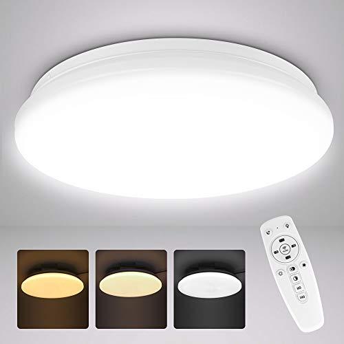 Lámpara LED de techo regulable, lámpara de techo regulable con mando a distancia, color de luz y brillo ajustable, 2800 K-6500 K para dormitorio, salón, habitación de los niños, redonda, 33 cm