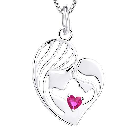 YL Madre e hija Collar de plata de ley 925 rubí claro Corazón Colgante Collar Regalos para mujeres mamá, 45-48 CM