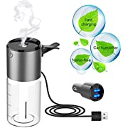 TecTri 2-in-1Car Humidifier, Car Diffuser - Multifunction Cool Mist Car Humidifier,Auto Shut-Off, 100ml Air Refresher Essential Oil Diffuser for Home, Office,Car,Travel