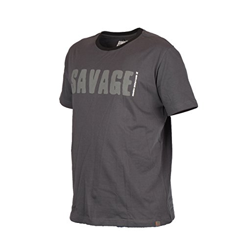 Savage Gear Simply Savage Tee Grey - Angel T-Shirt, Angelshirt, Anglershirt, Tshirt für Angler, Shirt, Angelbekleidung, Größe:XL