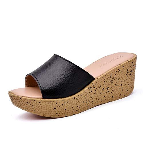 Antislip doucheschoenen voor dames,Leren sandalen en pantoffels met sleehak in de zomer, hoge hak pantoffels met dikke bodem, zwart_37,House Soft Foam Sole Poolschoenen
