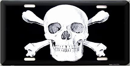 Boom Boom Cycles Skull and Crossbones License Plate Black and White 6 inch x 12 inch