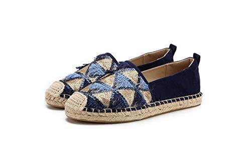 Surwin Pailletten Troddel Flat Espadrilles für Damen Basic Sommer Geflochten Leinen Slipper Damen Casual Canvas Schuhe Resort-Stil Bequeme (Blau,36)
