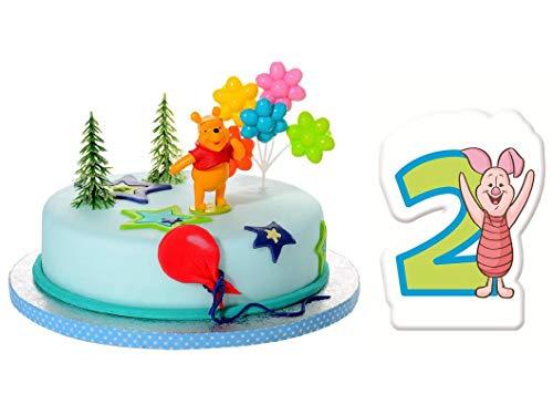 Torten Deko Set 2.Geburtstag Winnie Pooh 5 teilig Kindergeburtstag Torten Kerze Kuchendeko Tortenfigur Tortendeko