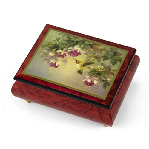 Handcrafted Ercolano Music Box Featuring Hummingbird W. Fuchsia by Lena Liu - Many Songs to Choose - Only You