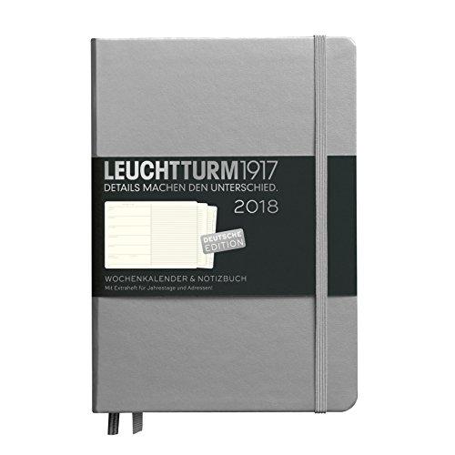 LEUCHTTURM1917 355099 Wochenkalender & Notizbuch 2018 Metallic Edition, Medium (A5), Silber, Deutsch