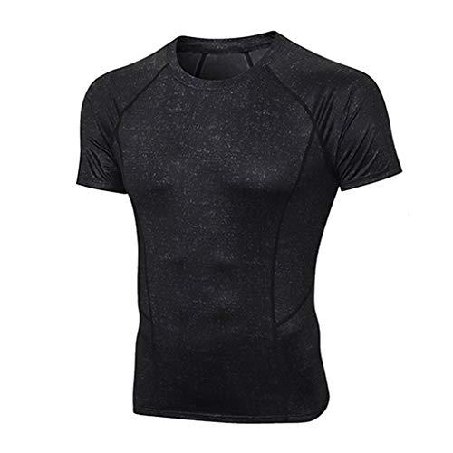 Yowablo Hommes Compression T-Shirt Mouvement Collants Hauts Fitness Jogging Sport Tops Fitness Manches Courtes Respirant à séchage Rapide pour Le Sport (XL,4Noir)