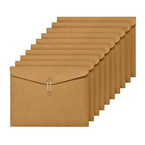 AiYoYo Dokumententasche a4 Mappe Kraftpapier Mappen 10er Verdickt Dokumententaschen Hochwertige mit Externe Taste Wickeldichtung Design für Büro, Schule und Zuhause, 31 x 23.3cm