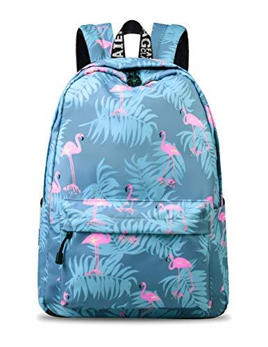YANAIER Mädchen Schulrucksack Modischer Freizeitrucksack für Frauen Teenager Jungen Wasserdicht Tasche Schulranzen Tagesrucksack mit Laptopfach (Blauer Flamingo-1)