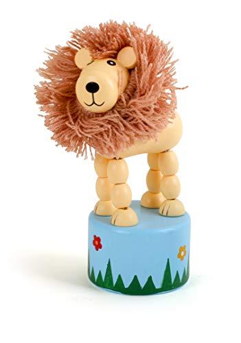 Small Foot 11135 Drückfigur Löwe aus Holz, FSC 100%-Zertifiziert, Mitgebsel Spielzeug, Mehrfarbig