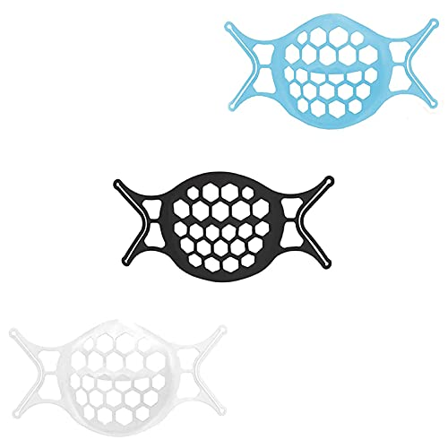 3D Face Mask Bracket for Comfortable Breathing,Upgraded Soft Inner Support Silicone Frame for Lipstick Protection,Keep Fabric off Mouth, Reusable&Washable (6 Pack)