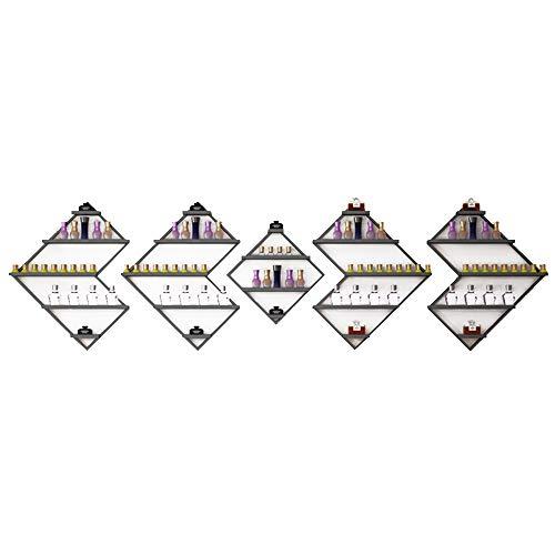 Conjuntos de repisa de esmalte de uñas Metal Iron 5 Tier, estante de exhibición de pared colgante para salón de uñas Estante de perfume Aceite esencial cosmético Organizador de estante de especias 🔥