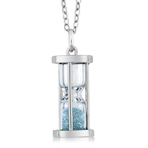 Gem Stone King 925 Sterling Silver Aquamarine Dust Hourglass Pendant Necklace For Women 0.75 Ct with 18 Inch Silver Chain