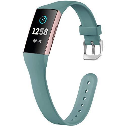 Ouwegaga Compatible con Fitbit Charge 4 Correa/Fitbit Charge 3 Correa, Pulsera Deportiva de Repuesto para Mujeres Hombres, Pequeña Pinegreen